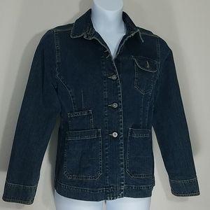 Jacket blue jean denim pockets dark blue button